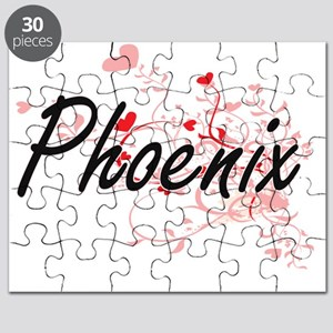 Phoenix Artistic Name Design with Hearts Puzzle