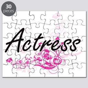 Actress Artistic Job Design with Flowers Puzzle