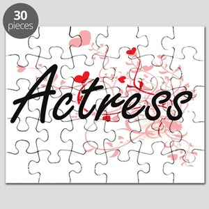 Actress Artistic Job Design with Hearts Puzzle