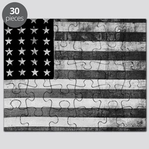 American Vintage Flag Black and White horiz Puzzle