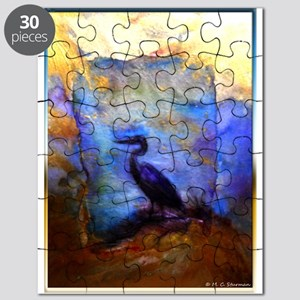Beautiful great heron, wildlife art Puzzle