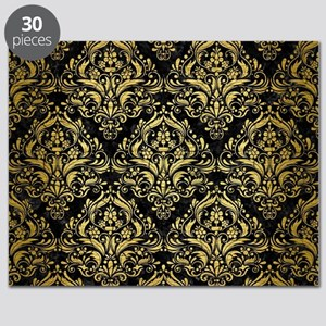 DAMASK1 BLACK MARBLE & GOLD BRUSHED METAL Puzzle