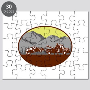 Car being towed Away Mountains Oval Woodcut Puzzle