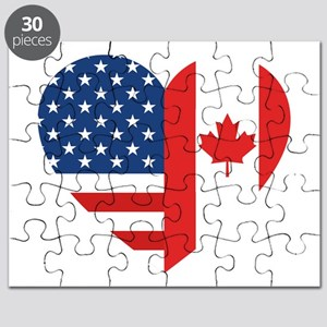 Canadian American Flag Love Puzzle