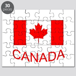Canada flag and country name. Canada Day. Puzzle
