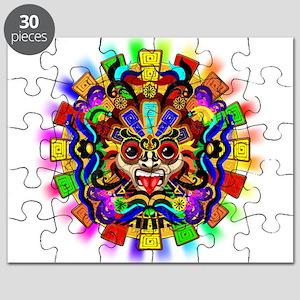 3272ebbbe Aztec Warrior Mask Rainbow Colors Puzzle