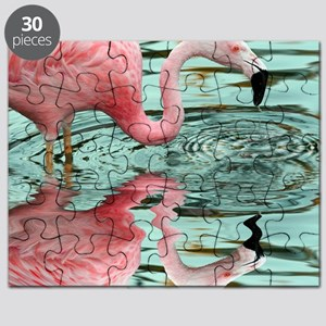 Pink Flamingo Reflection Puzzle