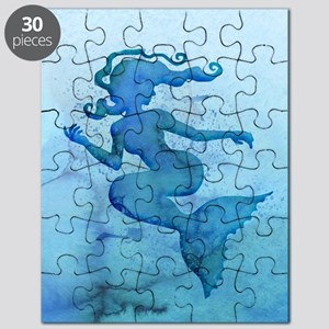 Blue Watercolor Mermaid Puzzle