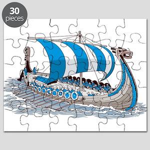 Blue Viking Ship Puzzle