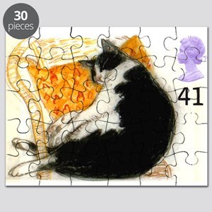 1995 Great Britain Sleeping Cat Postage Stamp Puzz