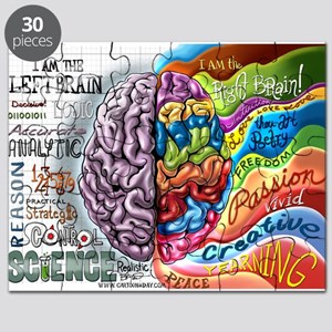 Left Brain Right Brain Cartoon Poster Puzzle
