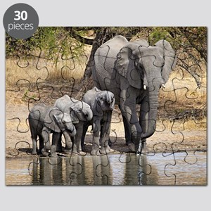 Elephant mom and babies Puzzle