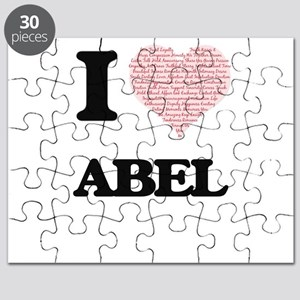 I Love Abel (Heart Made from Love words) Puzzle