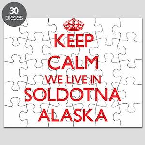 Keep calm we live in Soldotna Alaska Puzzle