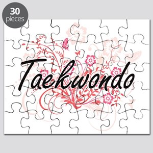 Taekwondo Artistic Design with Flowers Puzzle