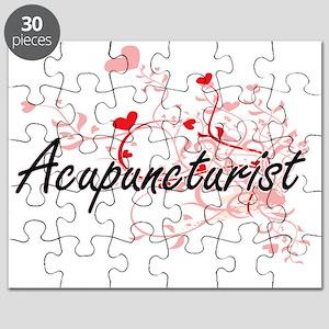Acupuncturist Artistic Job Design with Hear Puzzle