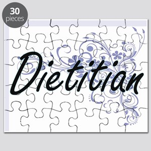 Dietitian Artistic Job Design with Flowers Puzzle
