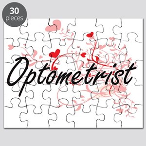 Optometrist Artistic Job Design with Hearts Puzzle
