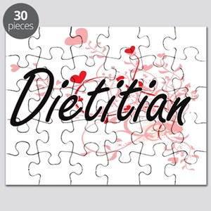 Dietitian Artistic Job Design with Hearts Puzzle