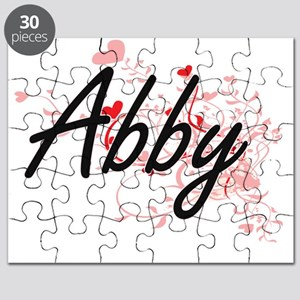 Abby Artistic Name Design with Hearts Puzzle