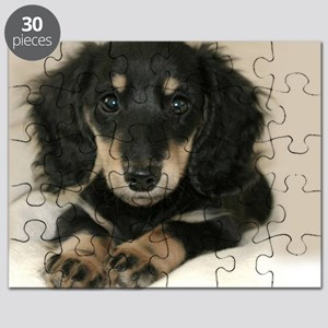 long hair black doxie 16x12 Puzzle