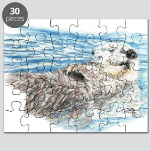Cute Watercolor Otter Relaxing or Chilling Puzzle