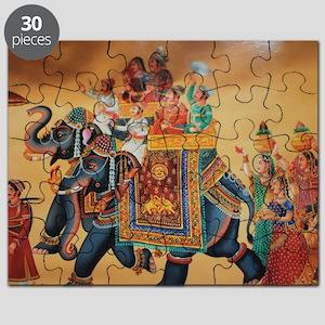 INDIAN ROYALTY ON ELEPHANTS Puzzle