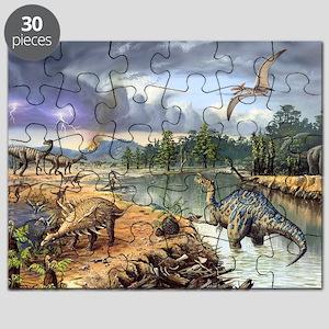 Early Cretaceous life, artwork Puzzle