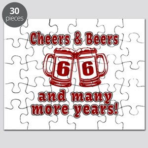 Cheers And Beers 66 And Many More Years Puzzle