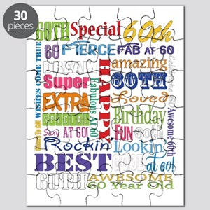 60th Birthday Typography Puzzle