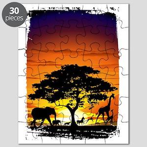 Wild Animals on African Savannah Sunset Puzzle