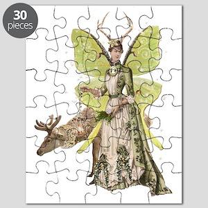 Reindeer Guardian victorian angel Puzzle