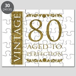 Fancy Vintage 80th Birthday Puzzle