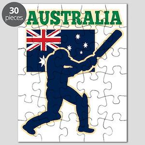 cricket sports batsman  Australia flag Puzzle