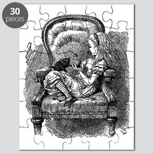 Vintage black and white alice in wonderland Puzzle