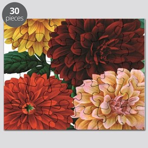 modern vintage fall dahlia flowers Puzzle