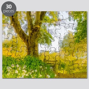 Golden Scene with Tree and Bench Puzzle