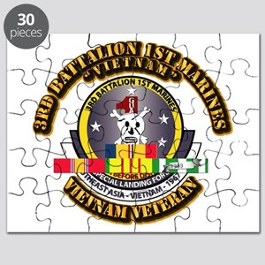 SSI - 3rd Bn - 1st Marines w VN SVC Ribbon Puzzle