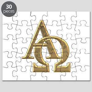"""3-D"" Golden Alpha and Omega Symbol Puzzle"