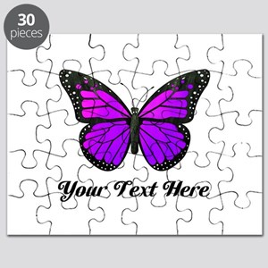 Purple Butterfly Custom Text Puzzle