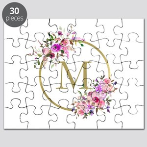 Floral and Gold Monogram Puzzle