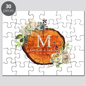 Floral Wood Wedding Monogram Puzzle