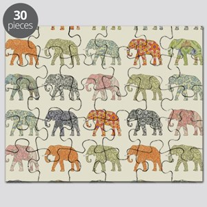 Elephant Colorful Repeating Pattern Decorat Puzzle