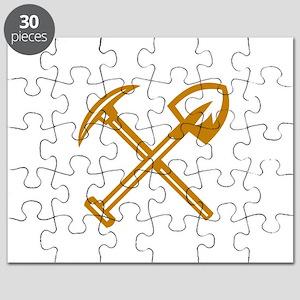 Pick Axe Shovel Crossed Retro Puzzle