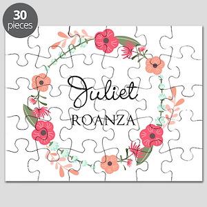 Flower Wreath Name Monogram Puzzle