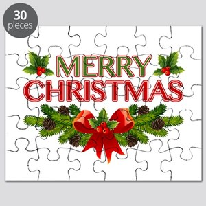 Merry Christmas Berries & Holly Puzzle