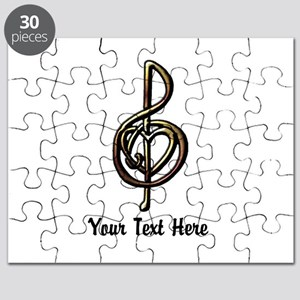 Music Treble Clef Embossed Look Customizabl Puzzle