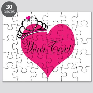 Personalizable Pink Heart with Crown Puzzle