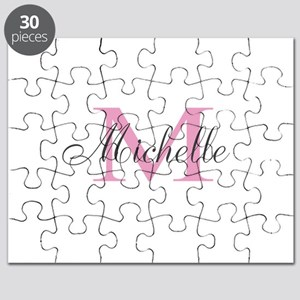 Personalized pink monogram Puzzle