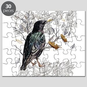 Leaves birds background set Puzzle